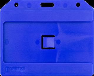 134ad1c8e39 Voorzijden van een blauwe harde open verticale badgehouder voor 3 badges  zonder badges. Referentie 1840
