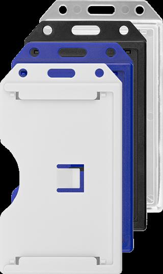 a6d325319d0 Harde open verticale badgehouder voor 3 badges in de kleuren, transparant,  blauw, wit