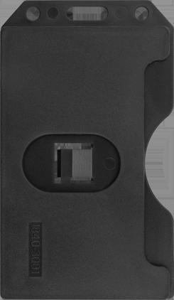 7ae4ef871a7 Voorzijden van de zwarte harde open verticale badgehouder voor 3 badges
